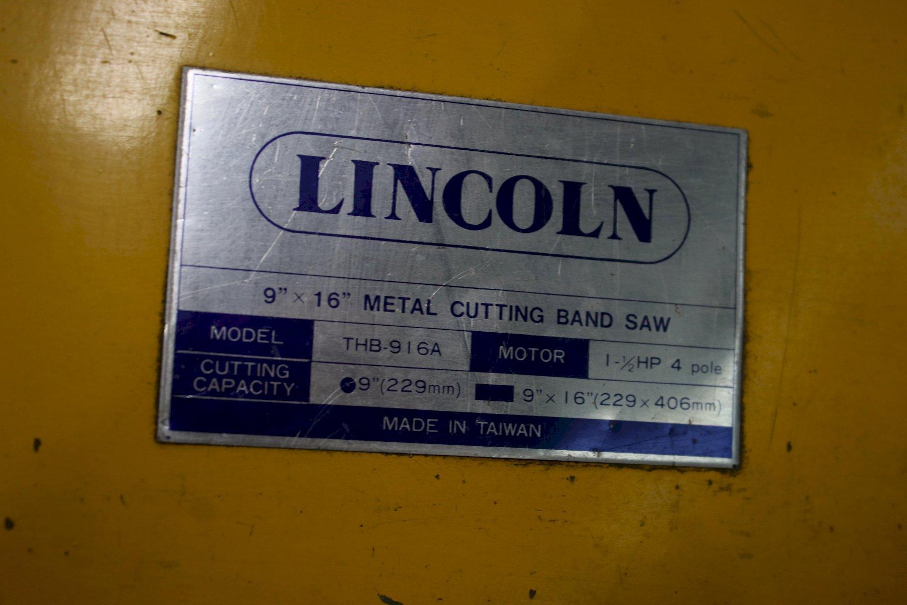 """9"""" X 16"""" LINCOLN HORIZONTAL BANDSAW: STOCK #74412"""
