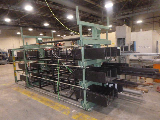 "Steel Storage Systems ""Spacesaver"" Model 4T-2G-24X12R-20' Roll-Out Cantilever Rack System"