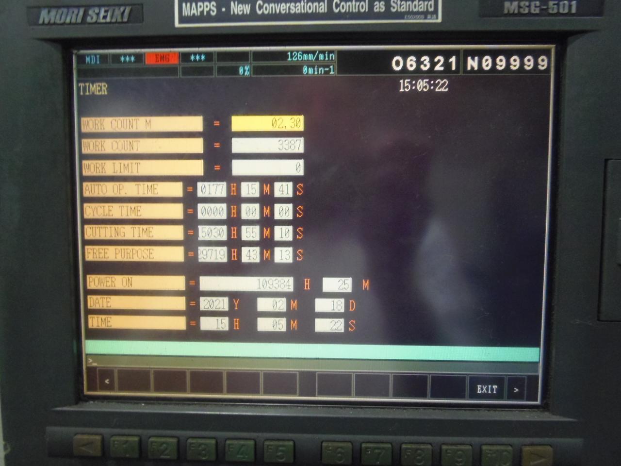 NH-5000/40 MORI SEIKI, MODEL NH5000, 2003, 1 DEGREE, MSC501, 60 ATC, 40 TAPER, 2 PALLET, 14,000 RPM