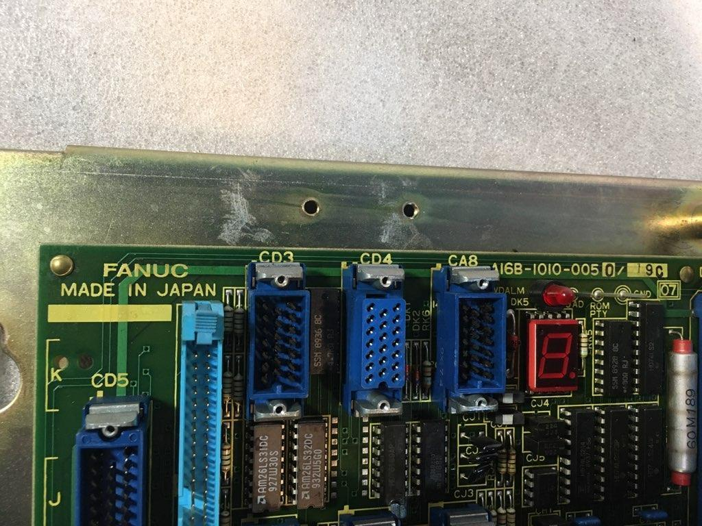 FANUC 11A MASTER BOARD A16B-1010-0050 with Fanuc Res/Ind Board A16B-1210-0460, Fanuc 11 ROM/RAM Board A16B-1210-0470, Bubble Memory Unit 32K CPU Board 256-1 A87L-0001-0017 and Fanuc 128K PC Cassette B A02B-0076-K002.