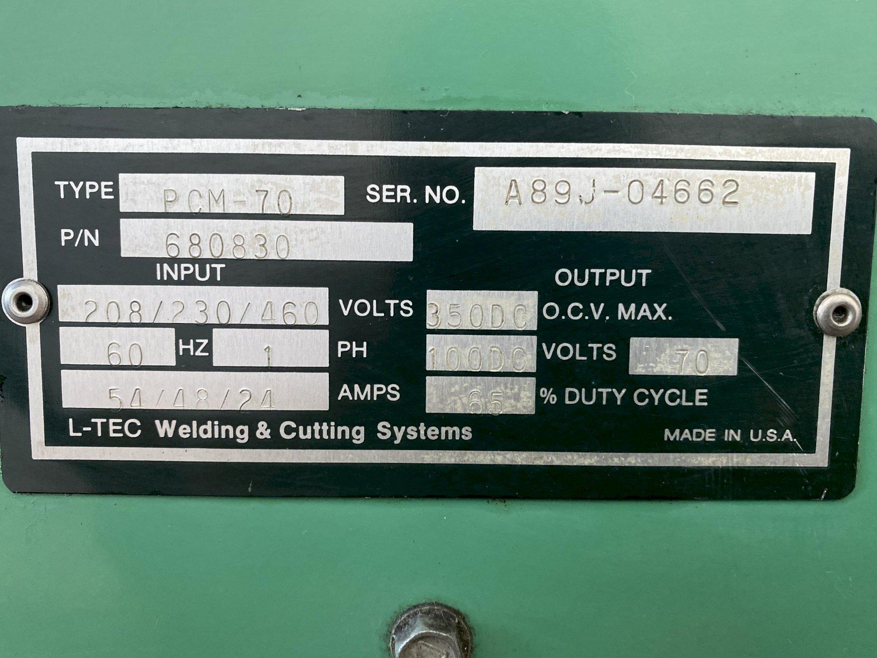 L-TEC PLASMARC PCM-70 PORTABLE PLASMA CUTTER. STOCK # 0950820