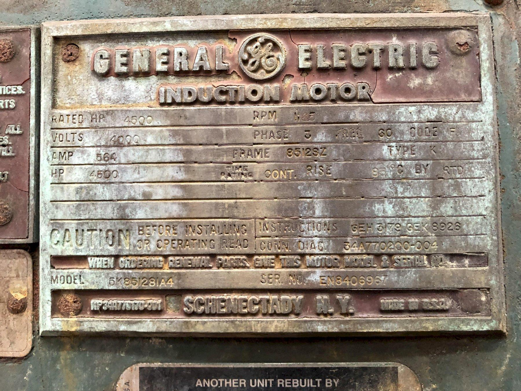 American size 427 type vs class 5 blower s/n 78-427-5h-33 rated at 1200 rpm with GE model 5k851281a4 4500 hp motor s/n en8406967 1185 rpm, 4000 volt