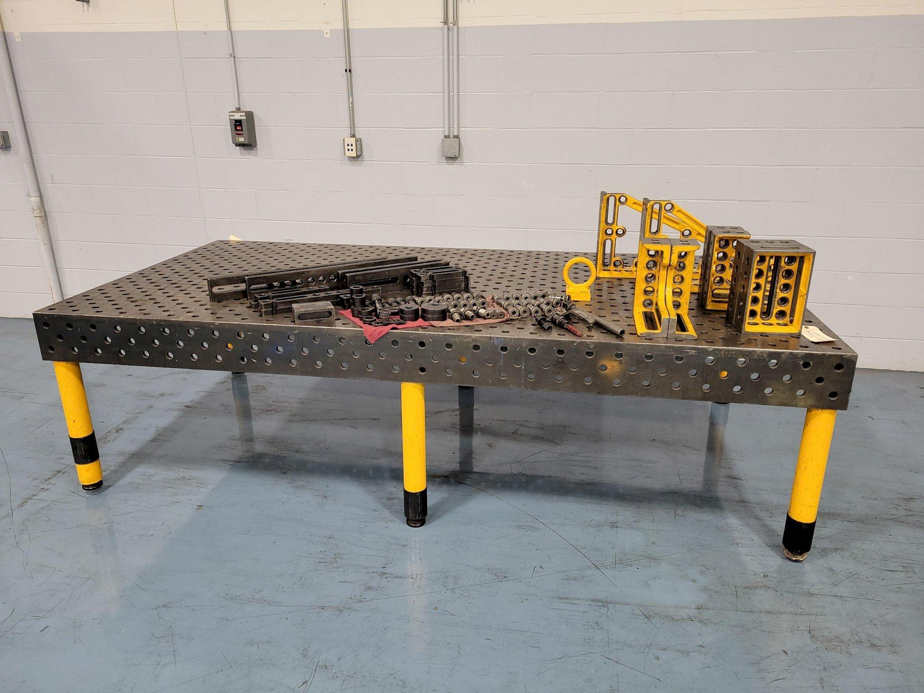 3000mm x 1500mm Demmeler Type 3D 1004 Welding Table with D28 Tooling Package NEW-2006. Equipped with Angles, Spacer Blocks, Locating Disks, Universal Stops, Stop Strips and Clamping Pins.