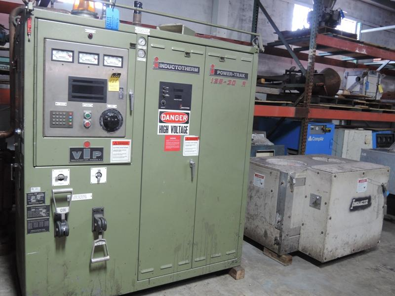 INDUCTOTHERM MODEL 125-30R 3200 HZ FURNACE SYSTEM WITH POWER-TRAK 125 KW POWER SUPPLY S/N 97K-83177-246-11 WITH TWO SWITCHES, INDUCTOTHERM MODEL 125-90 HYDRAULIC PUSHUP FURNACES 125# AND 90#, INTERCONNECTING BUSS AND CABLES, HYDRAULIC SYSTEM, WATER