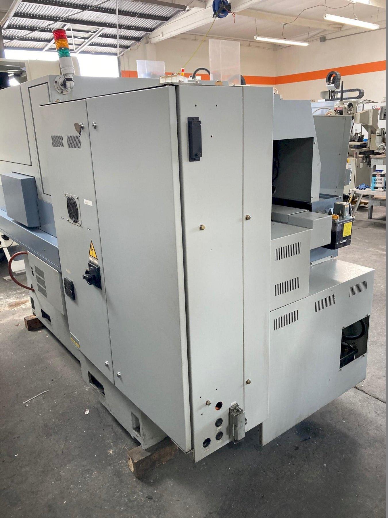Star SV-32 CNC Swiss Lathe with: Fanuc 16i-T CNC Control, LNS Hydrobar Mini Sprint Bar Feeder, Tooling, and Parts Catcher.