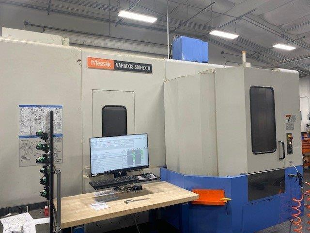 Mazak Variaxis 500-5XII 5-Axis VMC 2006 With: Mazatrol Matrix Voice Adviser CNC Control, Full 5-Axis, 2-Pallet Changer, Renishaw OMP40 Probe, 120-ATC, CAT-40 Taper, 12,000 RPM Spindle, Superflow 1000P