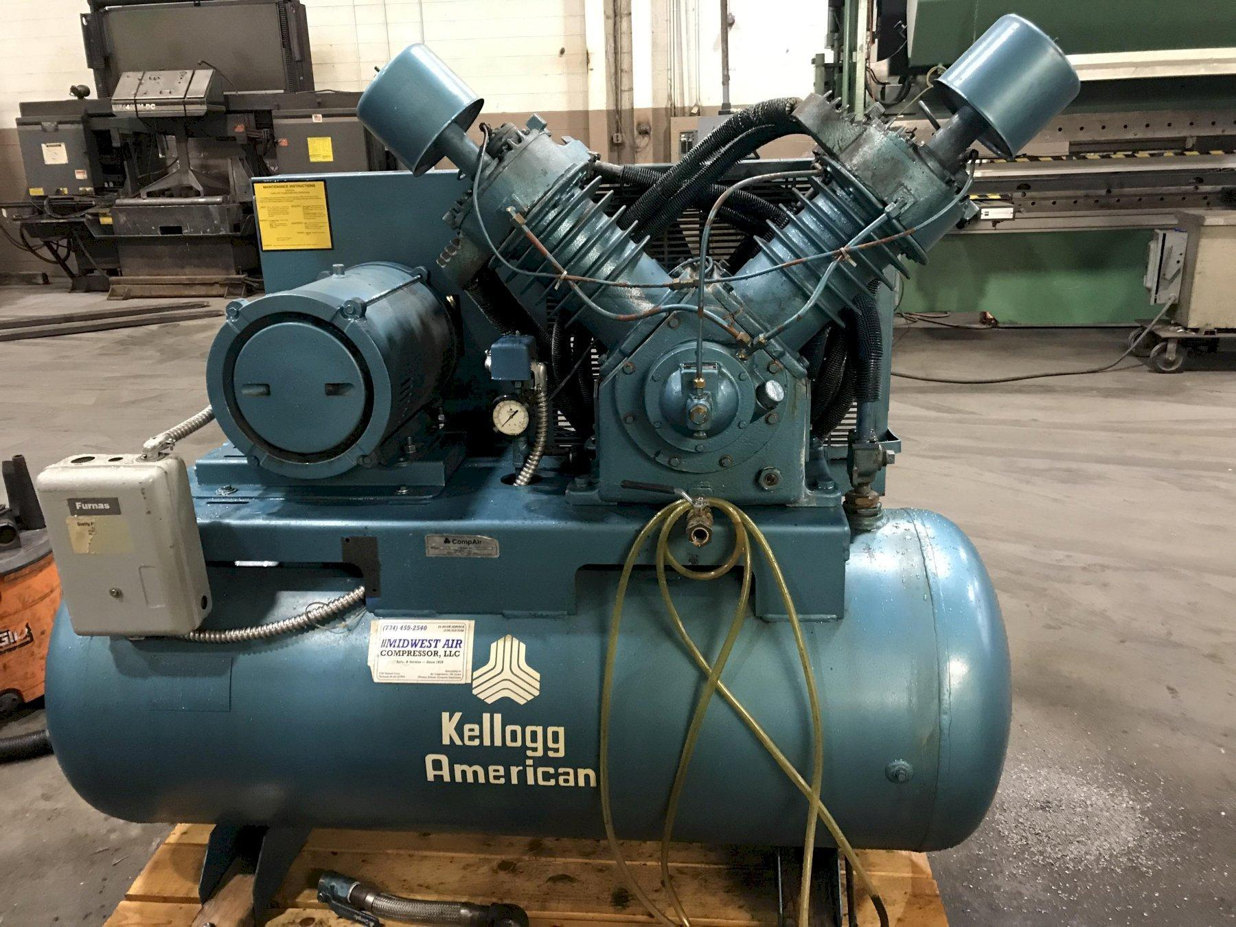 USED KELLOGG AMERICAN / COMPAIR 2 STAGE TANK MOUNTED AIR COMPRESSOR, Stock no. 10668