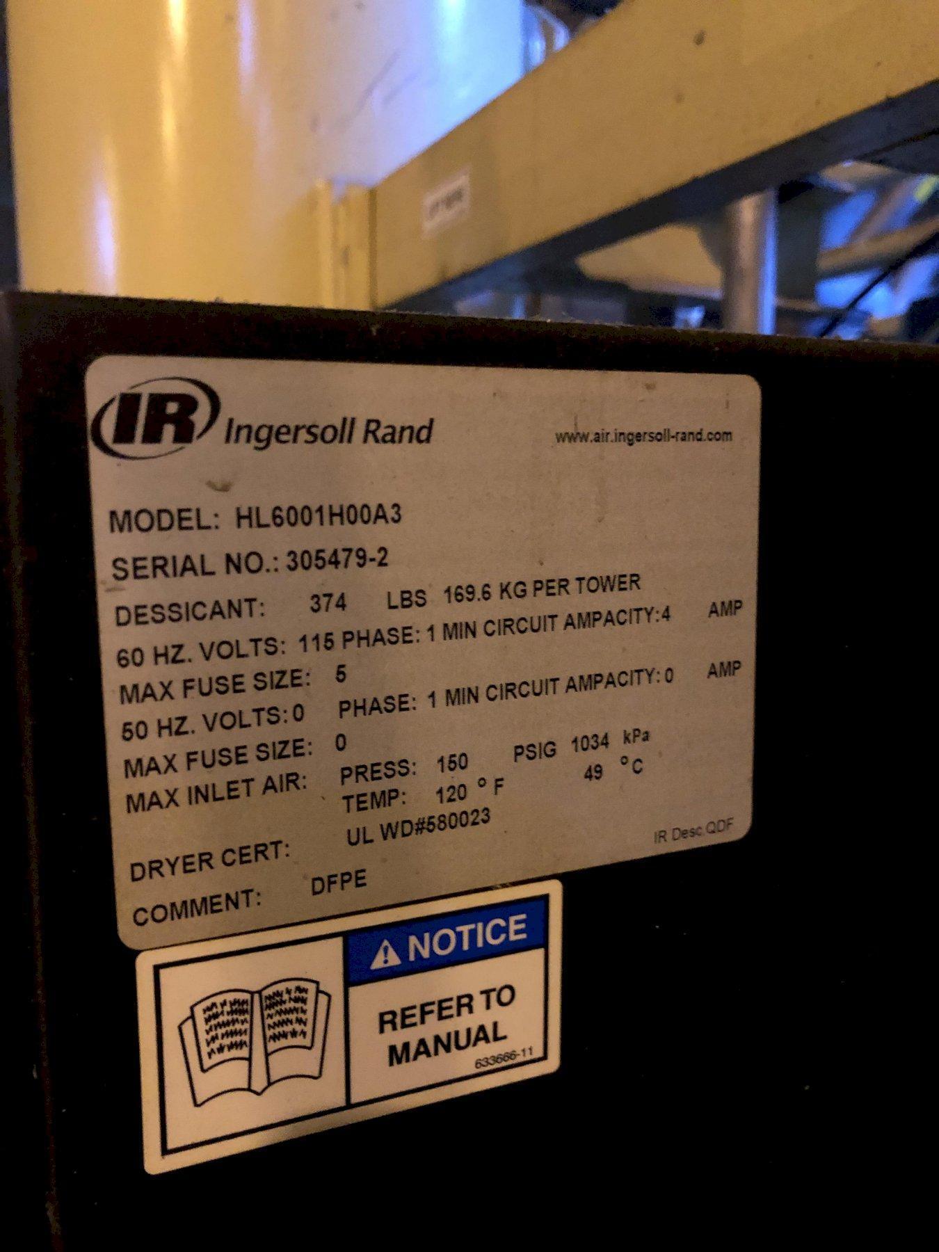 Ingersol Rand model hl6001h00a3 desiccant air dryer s/n 305479-2