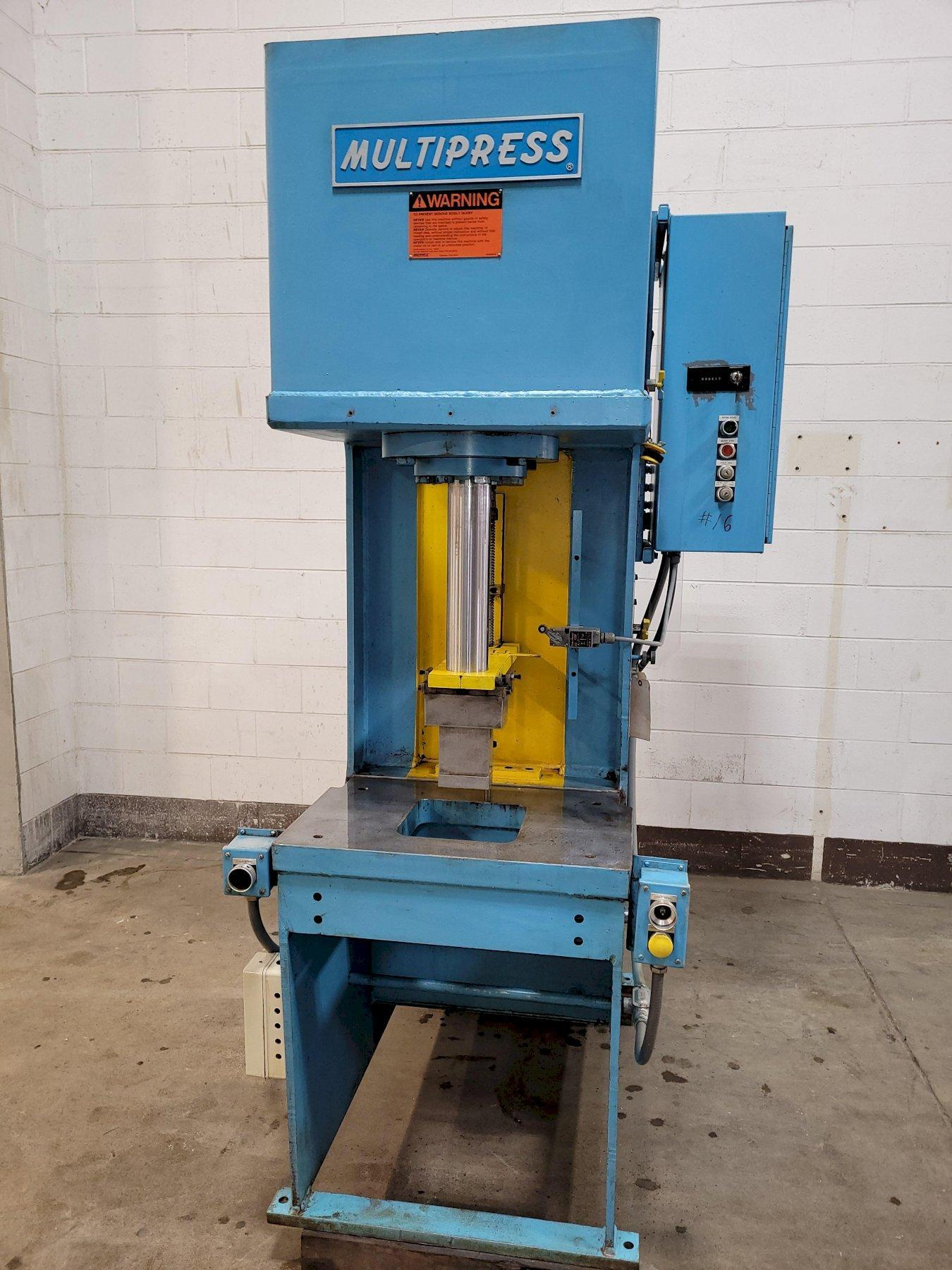 "20 Ton MultiPress Model FH-20-20H Floor Type C-Frame Hydraulic Press 21"" DL. 12"" Stroke. Inching. Dual Palms 1989"