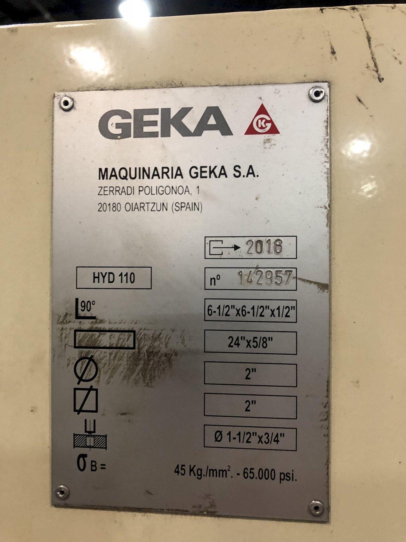 GEKA HYDRACROP 110/SD HYD IRONWORKER, STOCK# 14091T