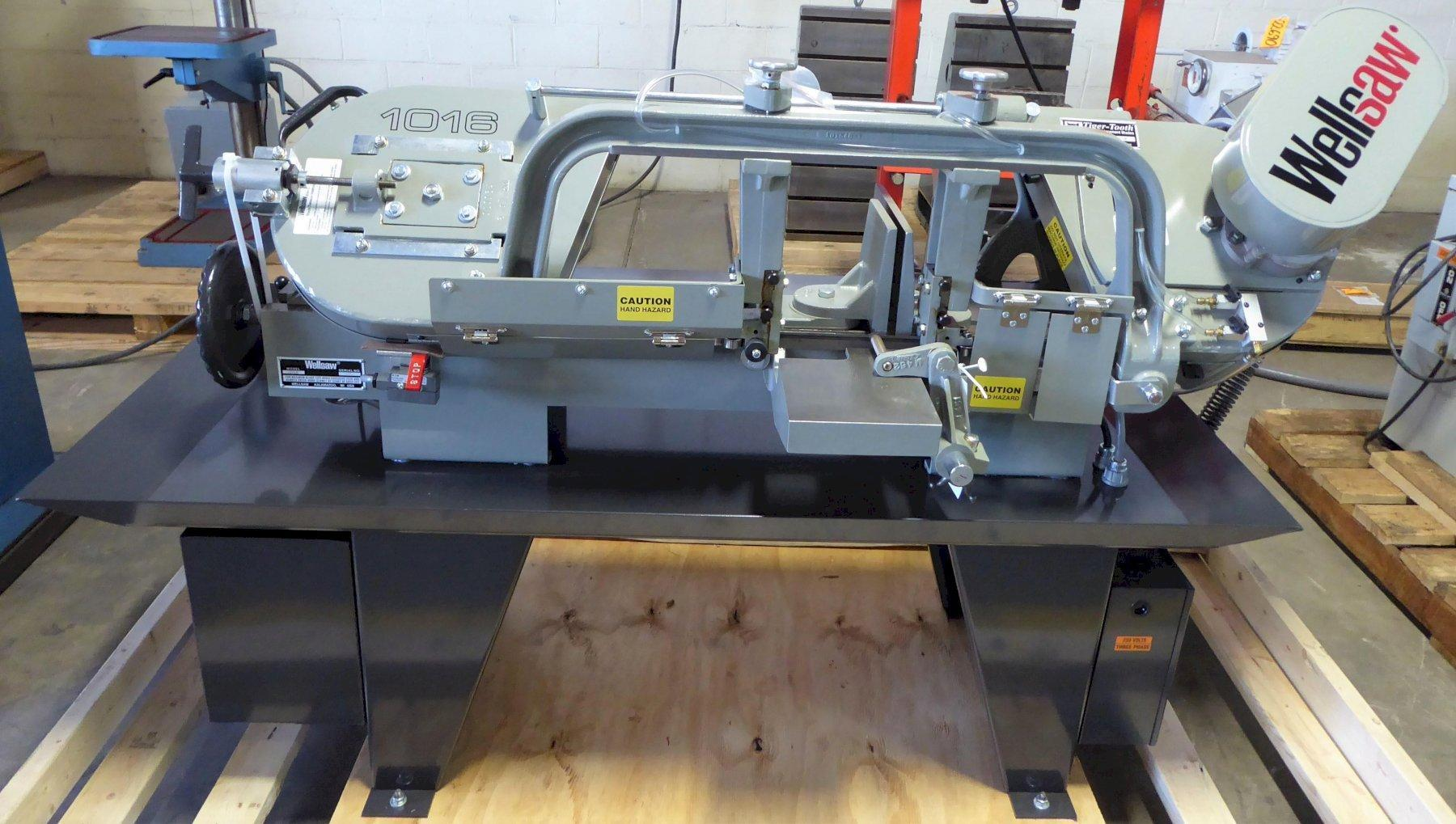 10″ x 16″ Wellsaw Horizontal Band Saw No. 1016, 50-275 FPM, 1″ Blade, Wet, 2 HP, New, In Stock