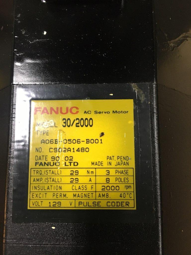 FANUC AC SERVO MOTOR, Model 30/2000, Type A06B-0506-B001