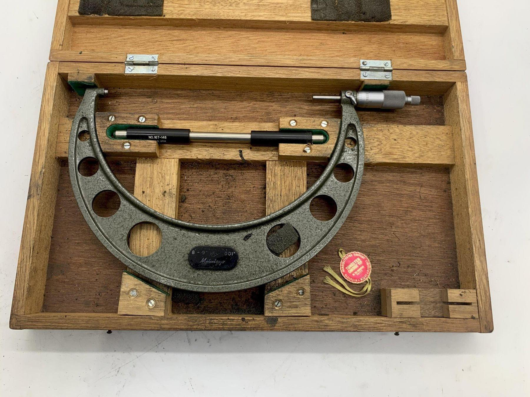 """8-9"""" MITUTOYO 103-223 OUTSIDE MICROMETER W/ 167-148 TOOL STOCK #15541"""