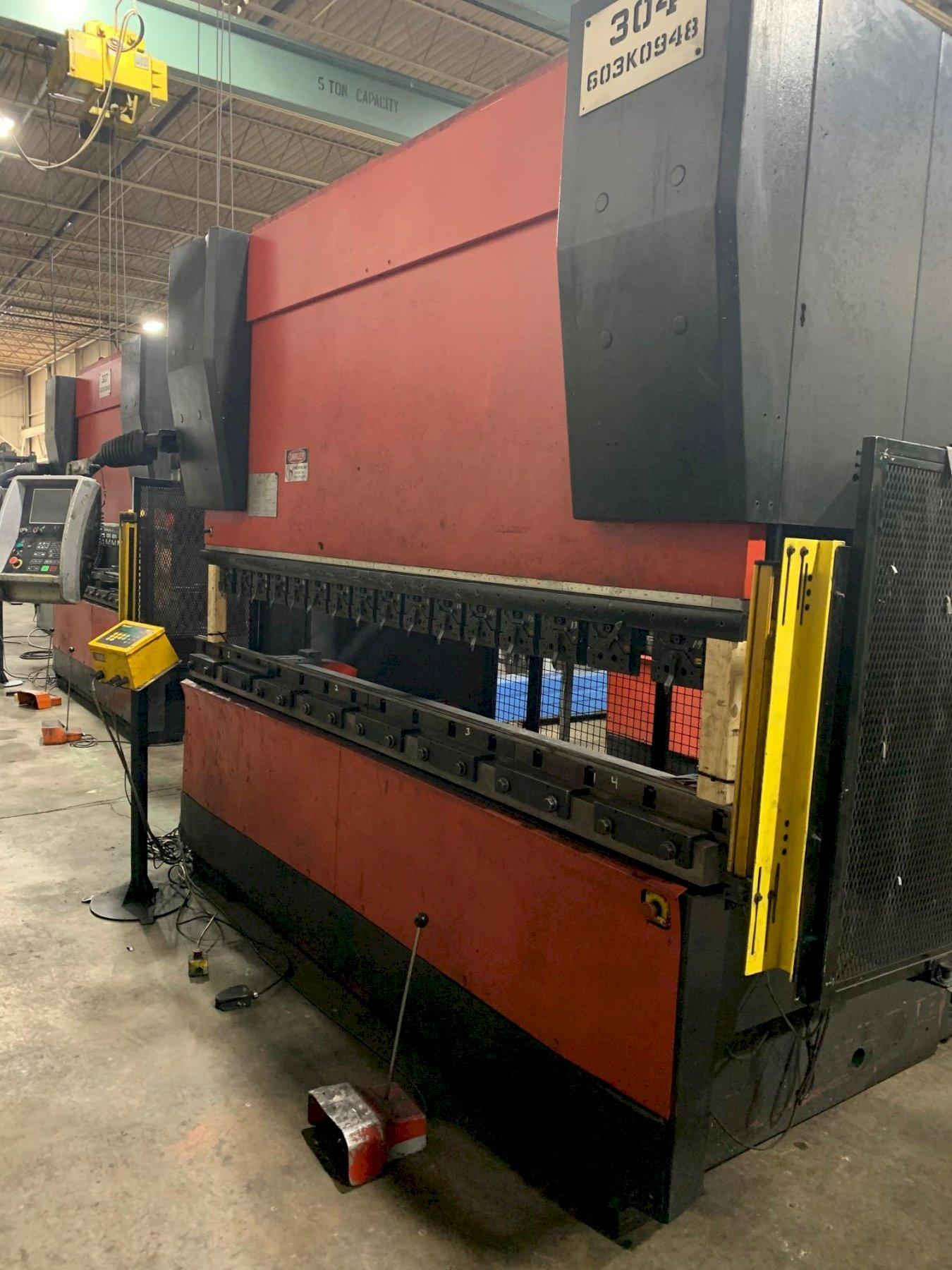 USED AMADA 187 TON X 10' MODEL HFE 1703S 6-AXIS HYDRAULIC DOWNACTING CNC PRESS BRAKE, Stock# 10730, Year 2004