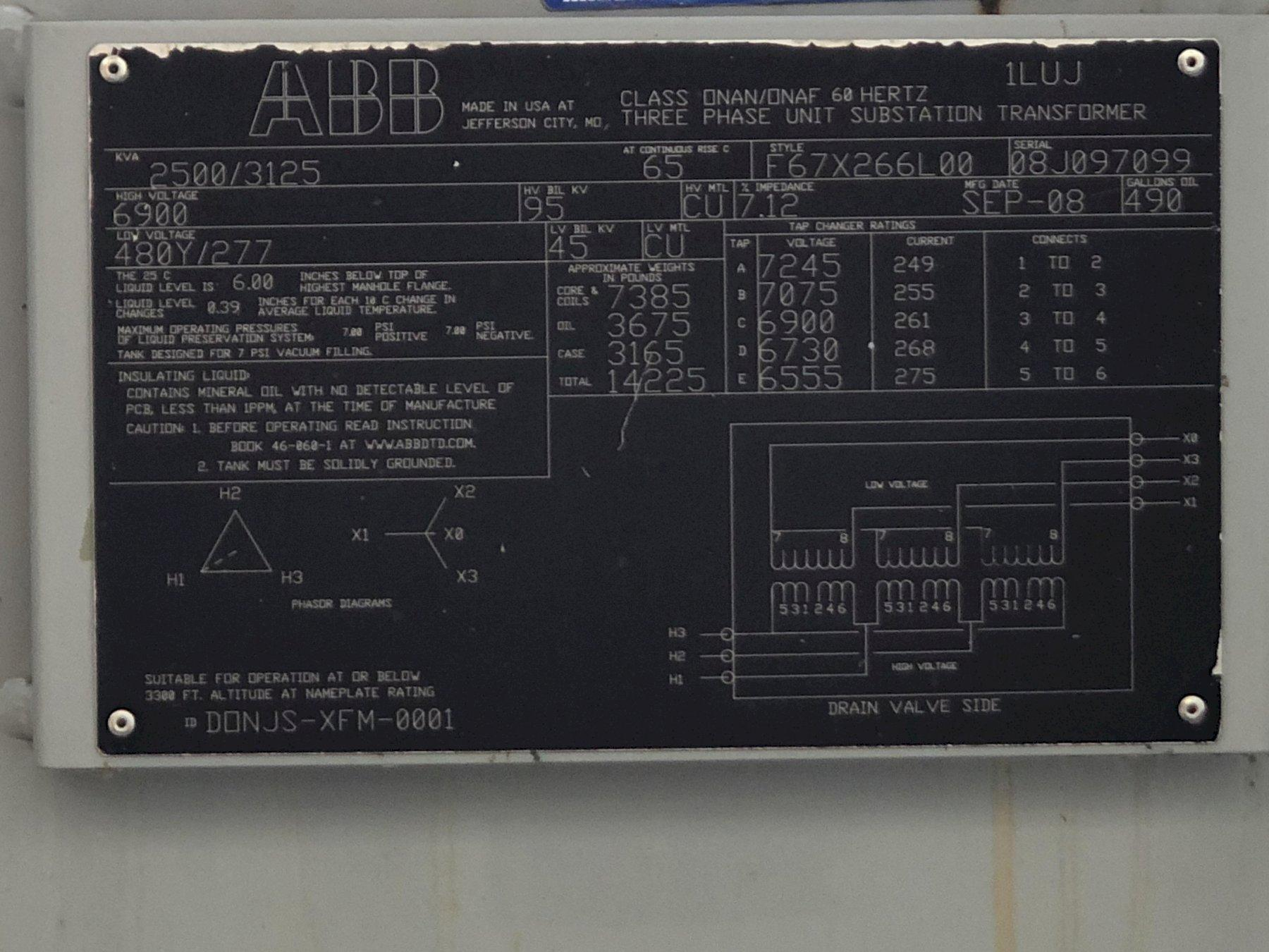 #1 2008 absorb transformer ABB 2500/3125 kva s/n 08j097099 rated at 6900 primary volts with 5 taps, 480Y/277 low volts