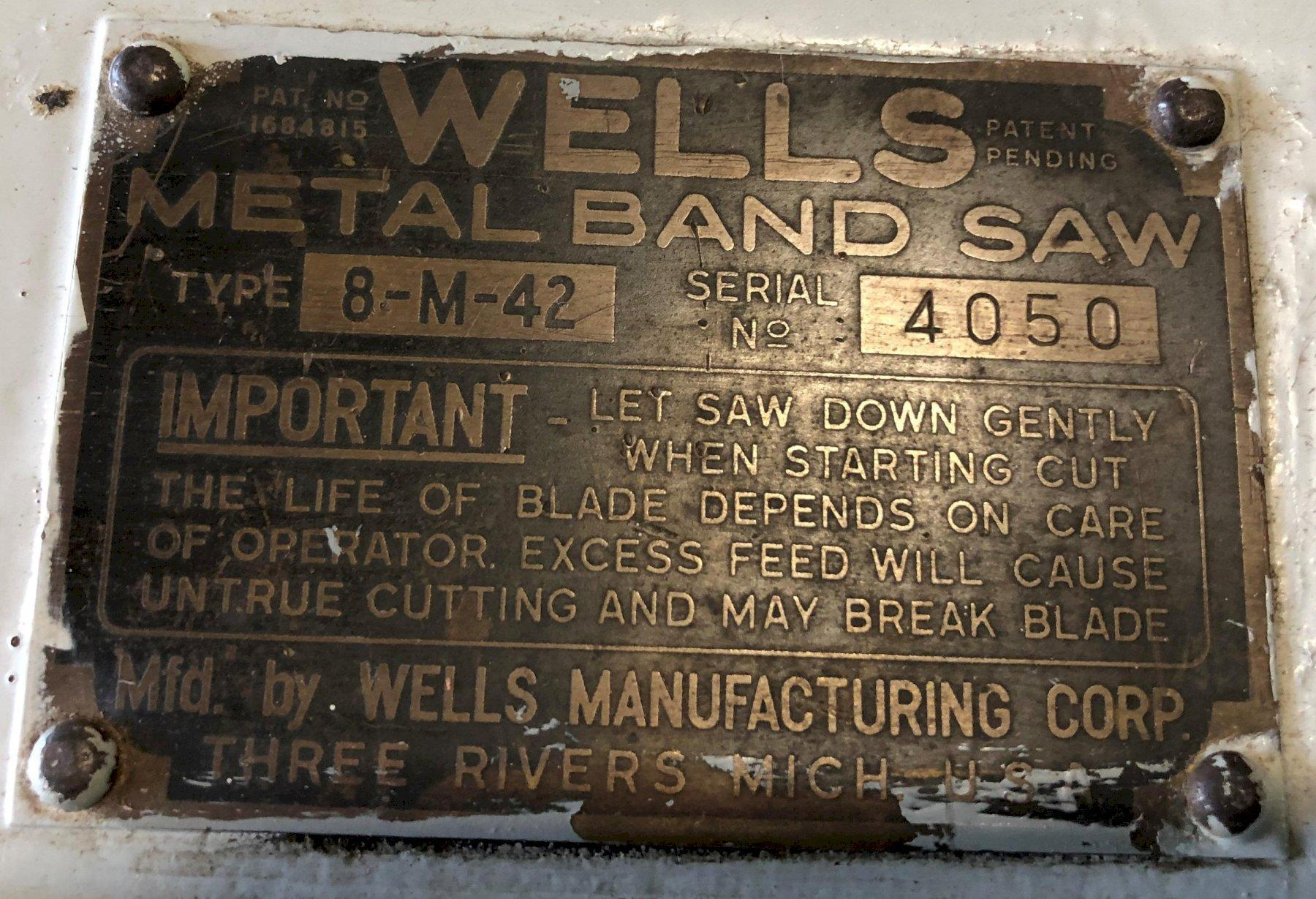 """8"""" x 16"""" Wells Horizontal Band Saw No. 8-M, 8"""" Rounds, 1/2 HP, Low Price"""