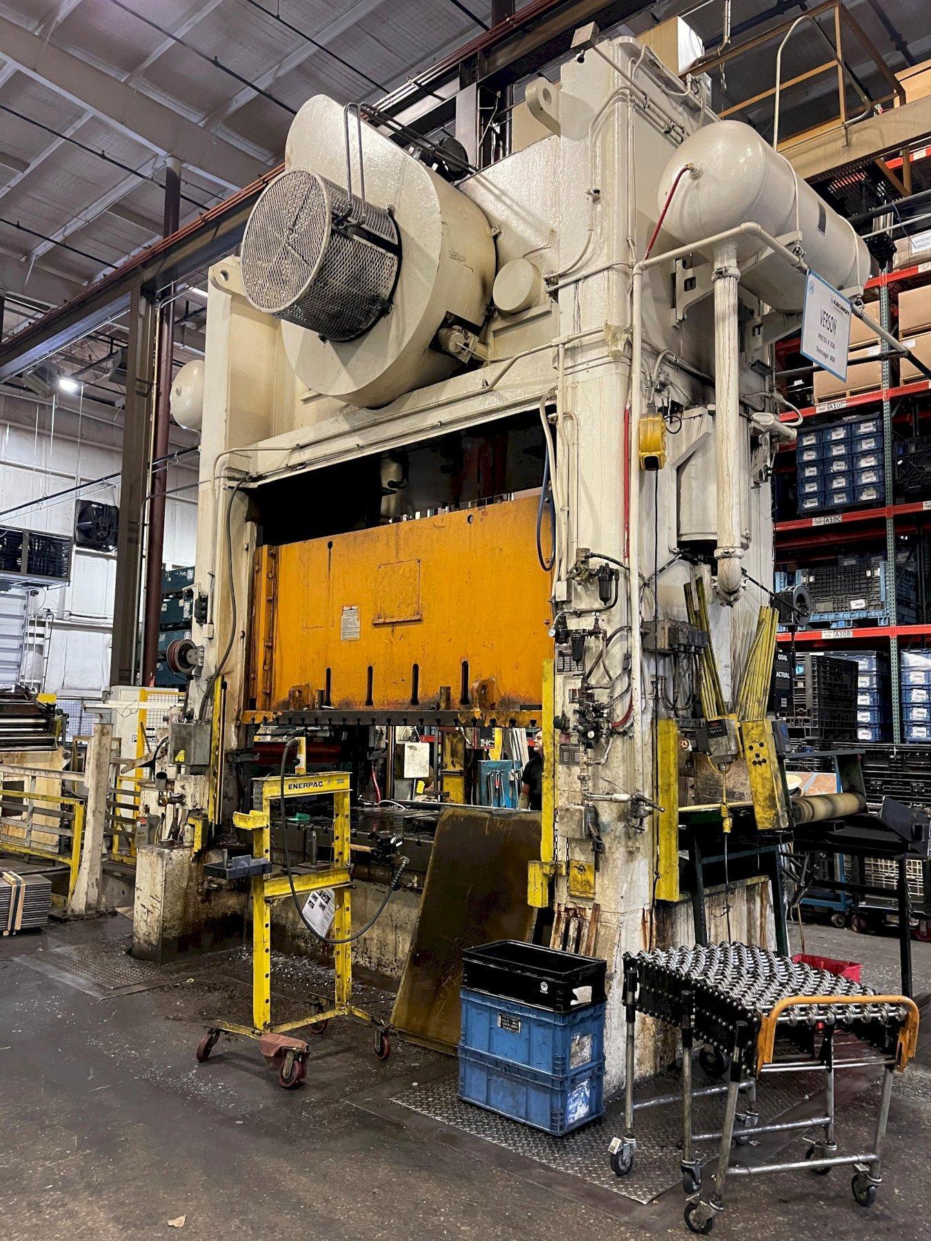400 ton Verson S2-400-120-60t Straight Side Mechanical Press, REBUILT 2021-2022!