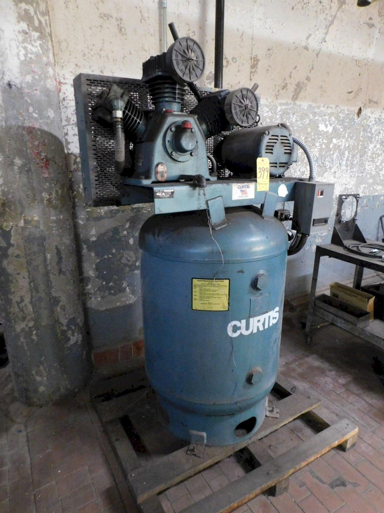 10 HP Curtis Air Compressor No. 10VT12-AS, 34 CFM @175 PSI, Three Cylinder-Two Stage,  120 Gallon Vertical Tank