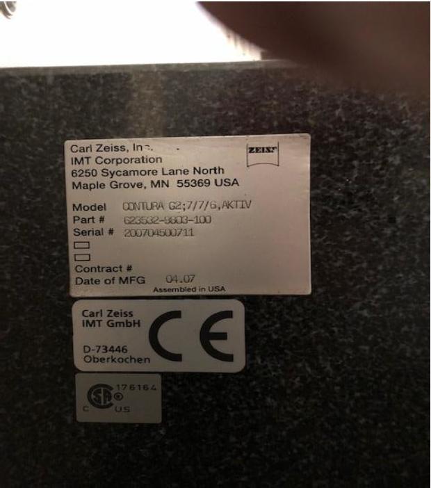 ZEISSZeiss Contura G2 Aktiv 7/7/6 DCC Coordinate Measuring Machine (CMM) Vast XT Scanning Head