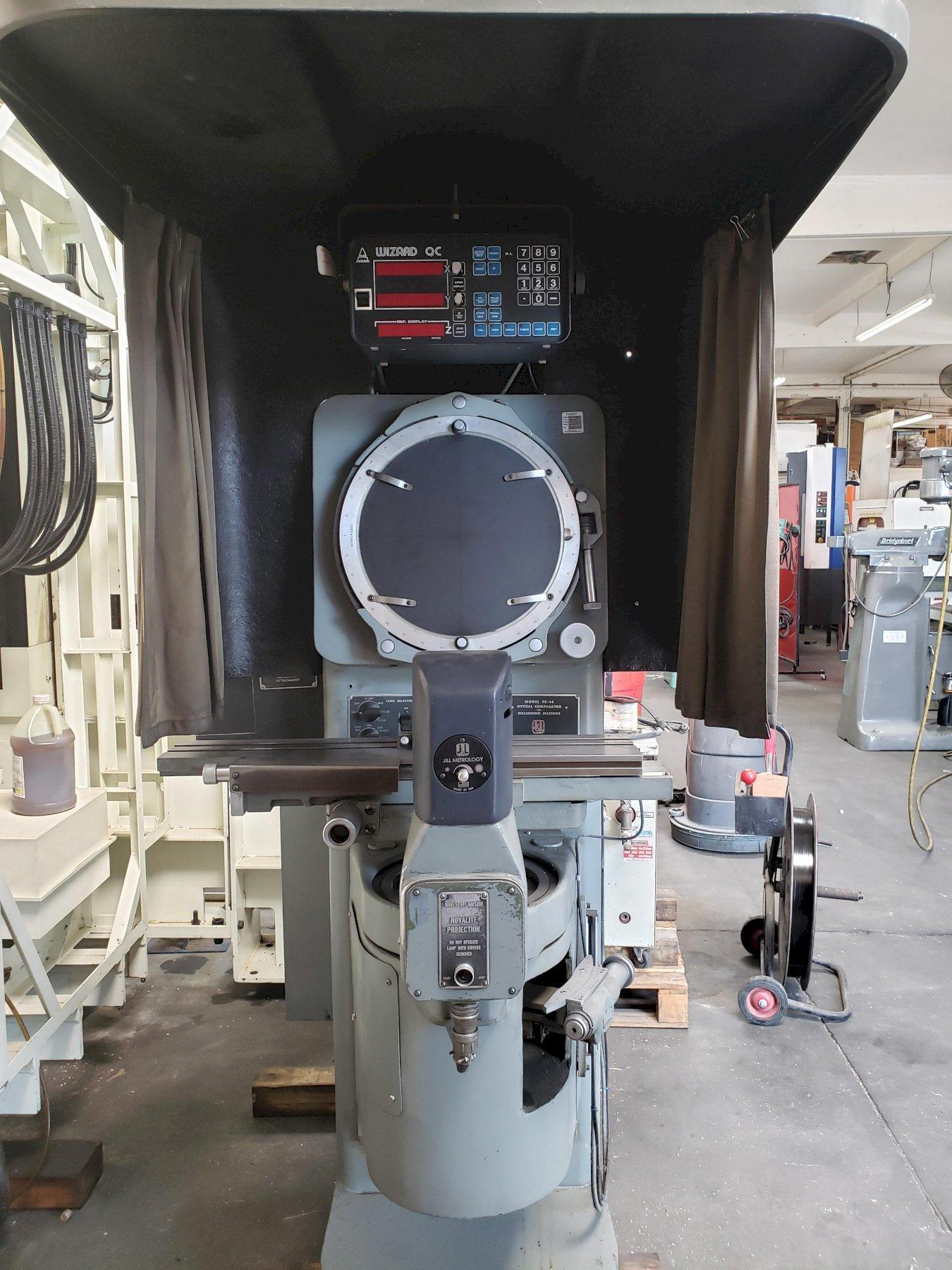 Jones & Lamson FC-14 Optical Comparator with Wizard QC DRO and Large Visor with Curtain.