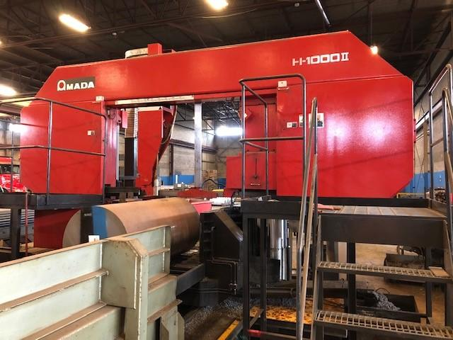 USED AMADA H-1000II SEMI-AUTOMATIC DUAL COLUMN HORIZONTAL BAND SAW,  44