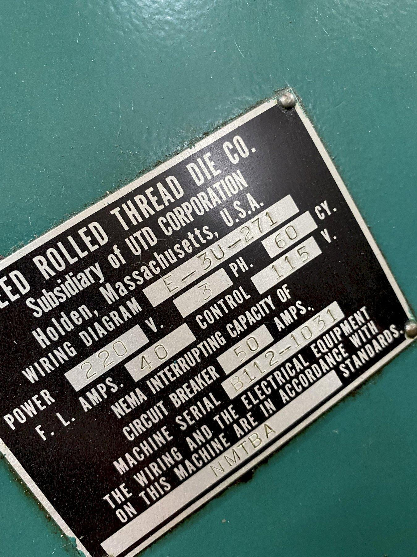 "2-1/2"" REED B-112 CYLINDRICAL 2-DIE HORIZ. THREAD ROLLER. STOCK # 0847321"