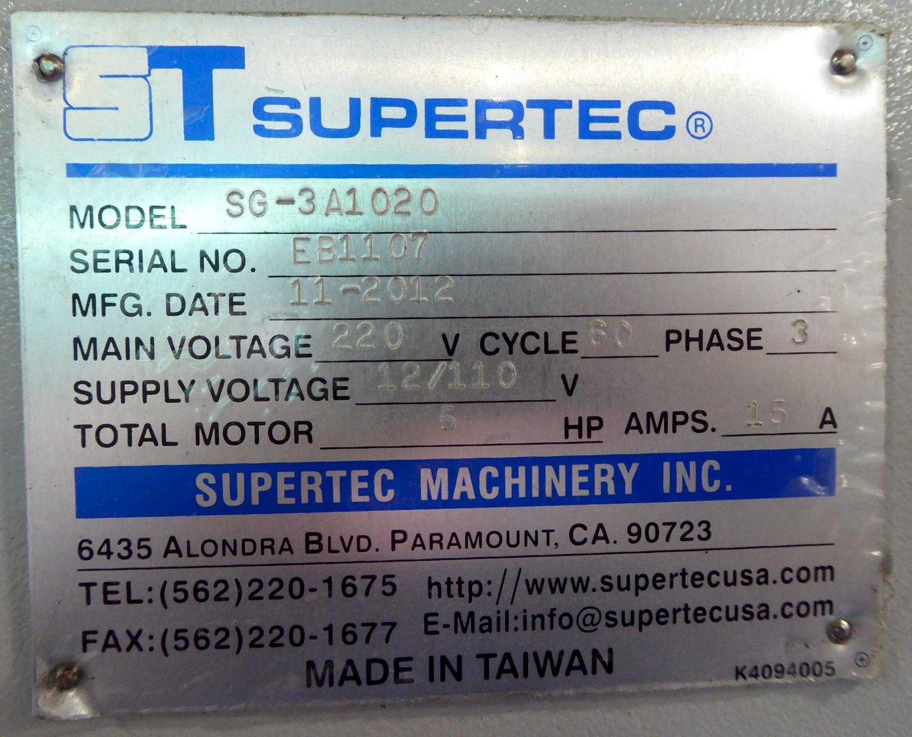 "10"" x 20"" Supertec Surface Grinder No. SG-3A1020, 3-Axis, Mitsubishi PLC, 2012, Excellent"