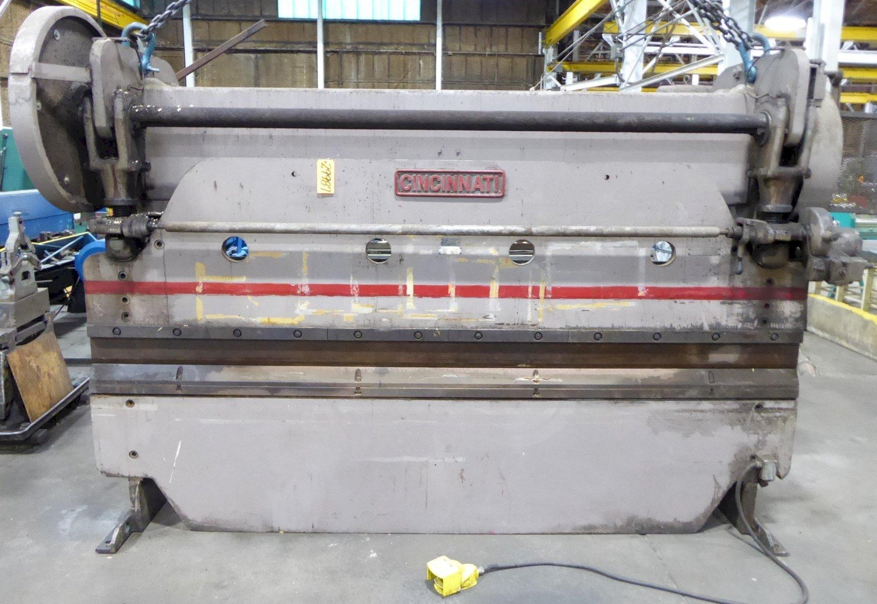 "100 Ton Cincinnati Press Brake No. 4-10, Mechanical, 12' O.A., 10'6"" B.H., 3"" Stroke, Low Price"