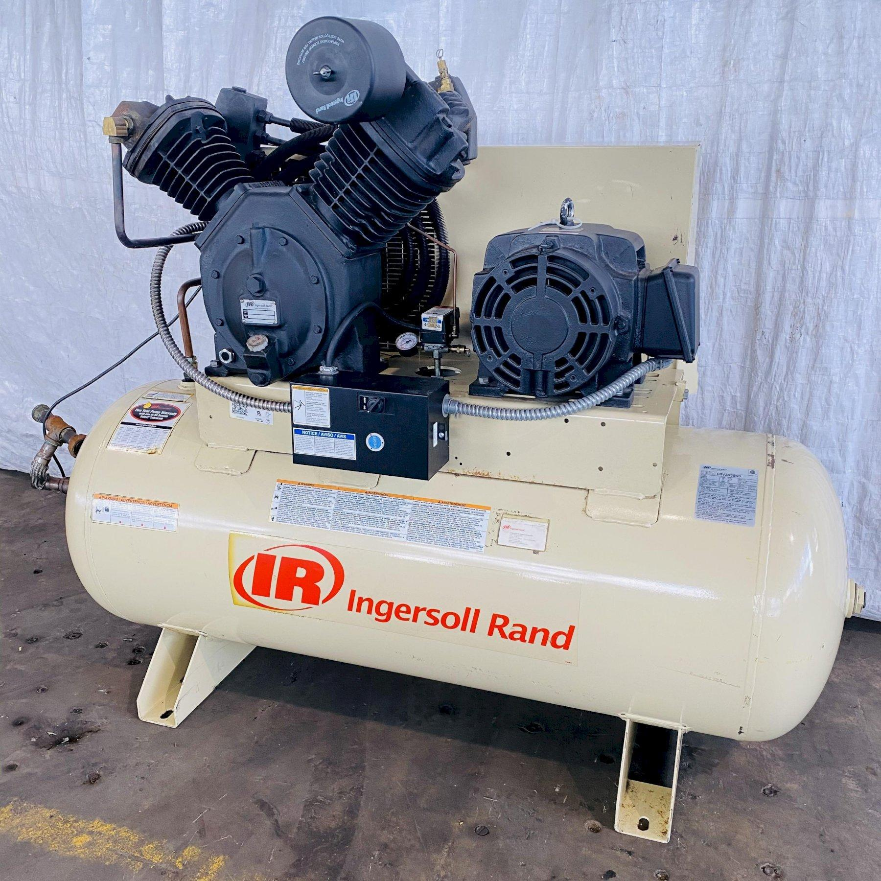 15 HP INGERSOLL-RAND 7100E15-VP HORIZONTAL PISTON TYPE AIR COMPRESSOR. STOCK # 0631621