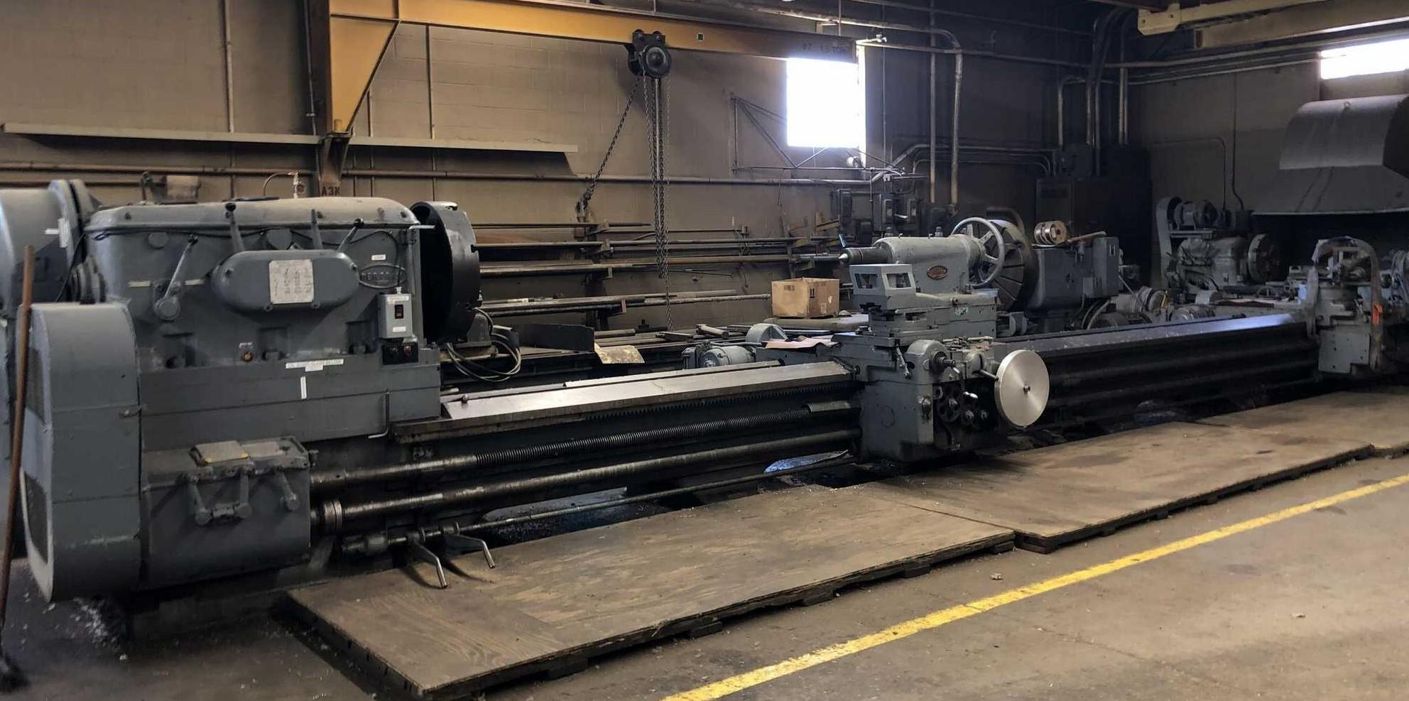 "56"" x 342"" BERTRAM ENGINE LATHE WITH DUAL CARRIAGES: STOCK 10964"