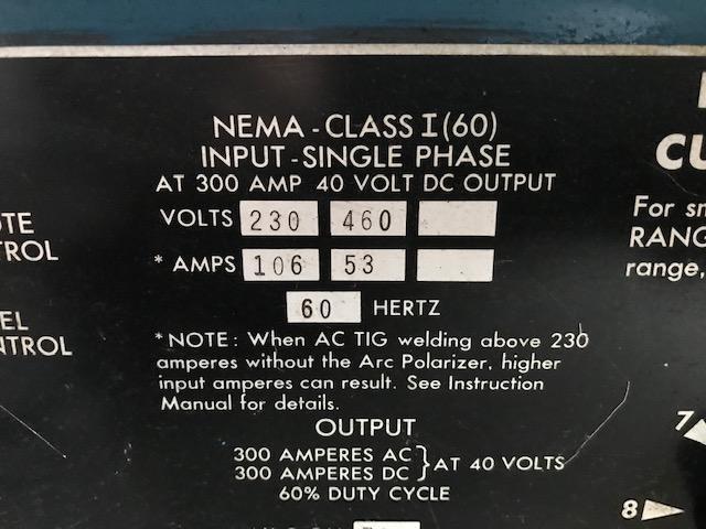Lincoln Idealarc TIG-300/300 300 amp  AC/DC Tig / Stick Welder Power Source Mounted on a Benard Coolant Tank Cart.