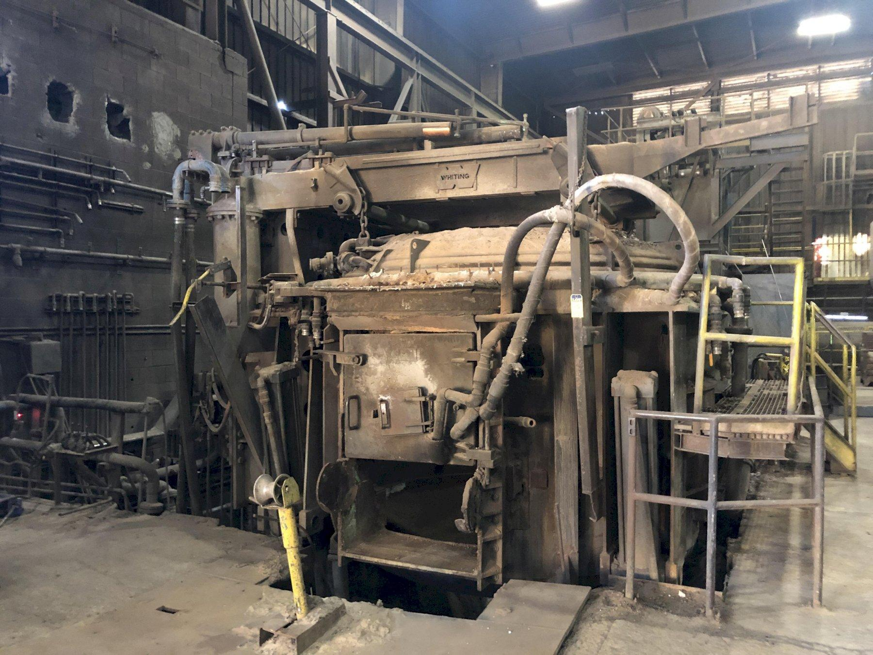 Whiting 17 ton arc Furnace, water cooled, roof, roof ring, side panels, slag door, buss, arms and electrode holders, some controls to be transferred