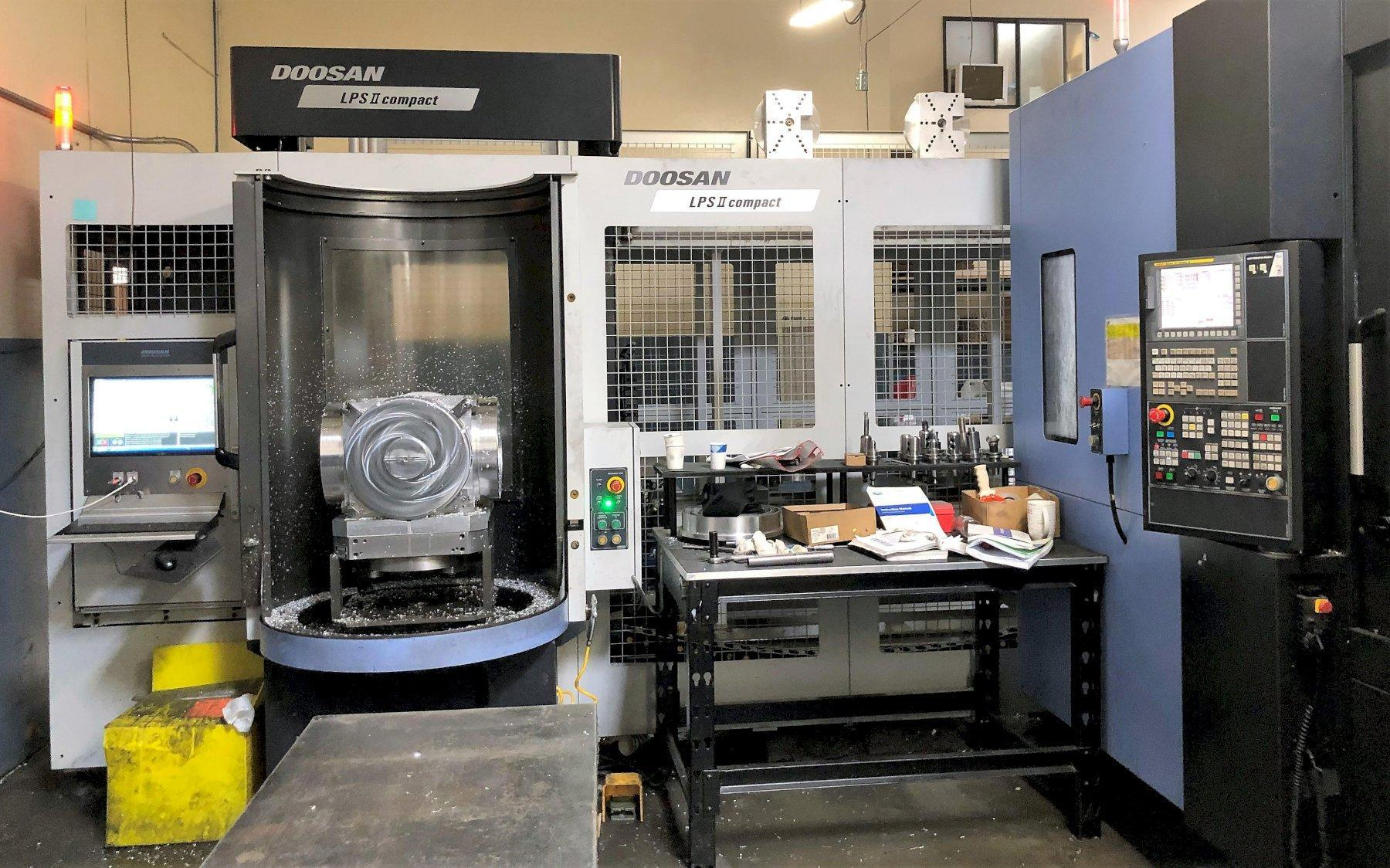 Doosan HP-5100II HMC 2015 with 10 Pallet Linear Pallet System,  Fanuc 31iB CNC Control, Full B-Axis, CT40, 14k RPM Spindle, 262 Position Magazine Tool Changer, Through Spindle Coolant, Rear Chip Conve