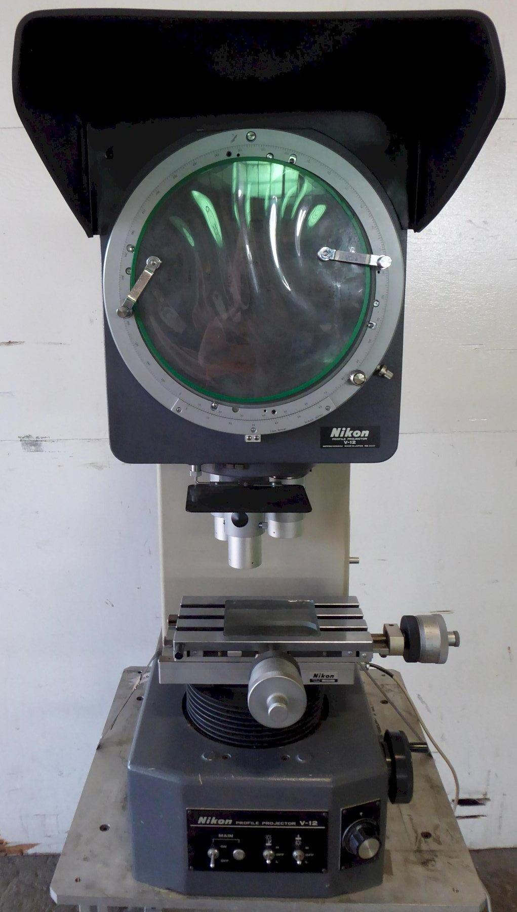 12″ Nikon Optical Comparator No. V-12, Bench Top, Vert. Beam, 10X/20X/50X, Surf. Illum.,