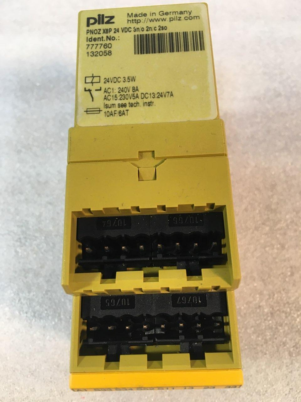 PILZ PNOZ X8P SAFETY RELAY, 777760, 24 VDC,  3n/o 2n/c 2so,  3.5W