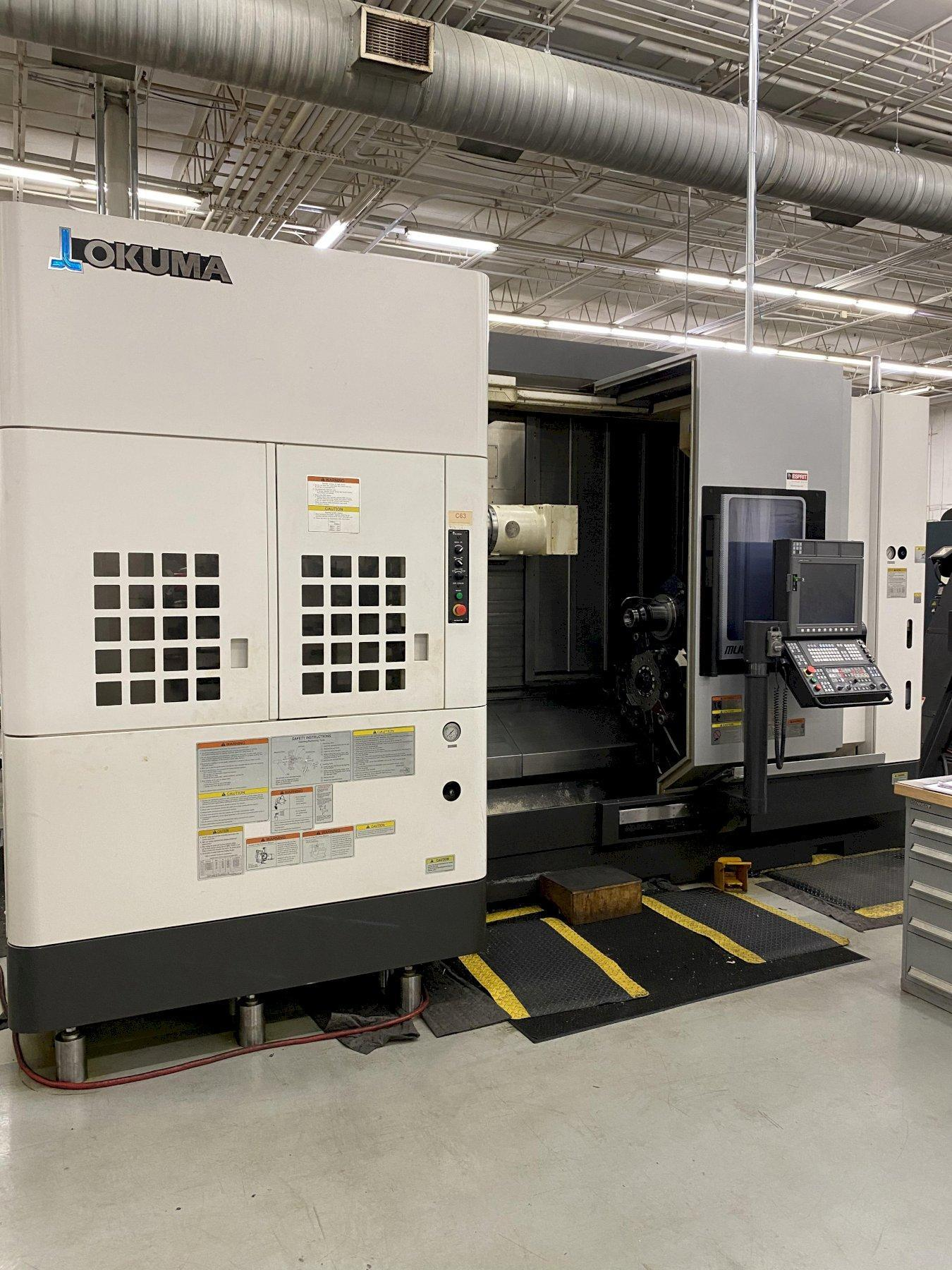 "Okuma Multus U3000 CNC MultiTasking Lathe, OSP P300SH Control, 25.6"" Swing, 63"" Centers, X/Y/Z/W/C Axis, 120 ATC, 12 Position Turret, Probes, 1761 Spindle Hours, Tons of Tooling, Collet System, C/C, Turnkey, 2015"
