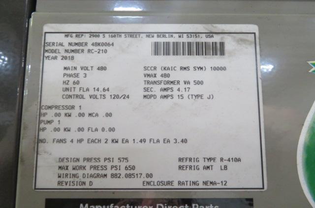 AEC Used RC210 Remote Condenser Chiller, 60-70 ton Capacity, 460V, Yr. 2018