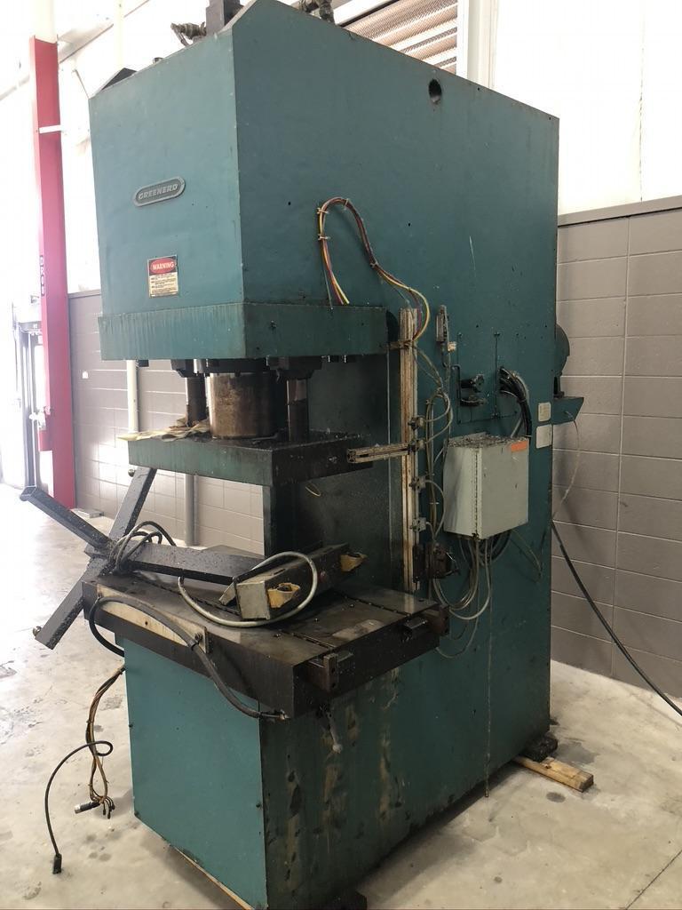 "110 ton Greenard Hydraulic press, 11.8"" str., vary speed, 23 x 43 bed"