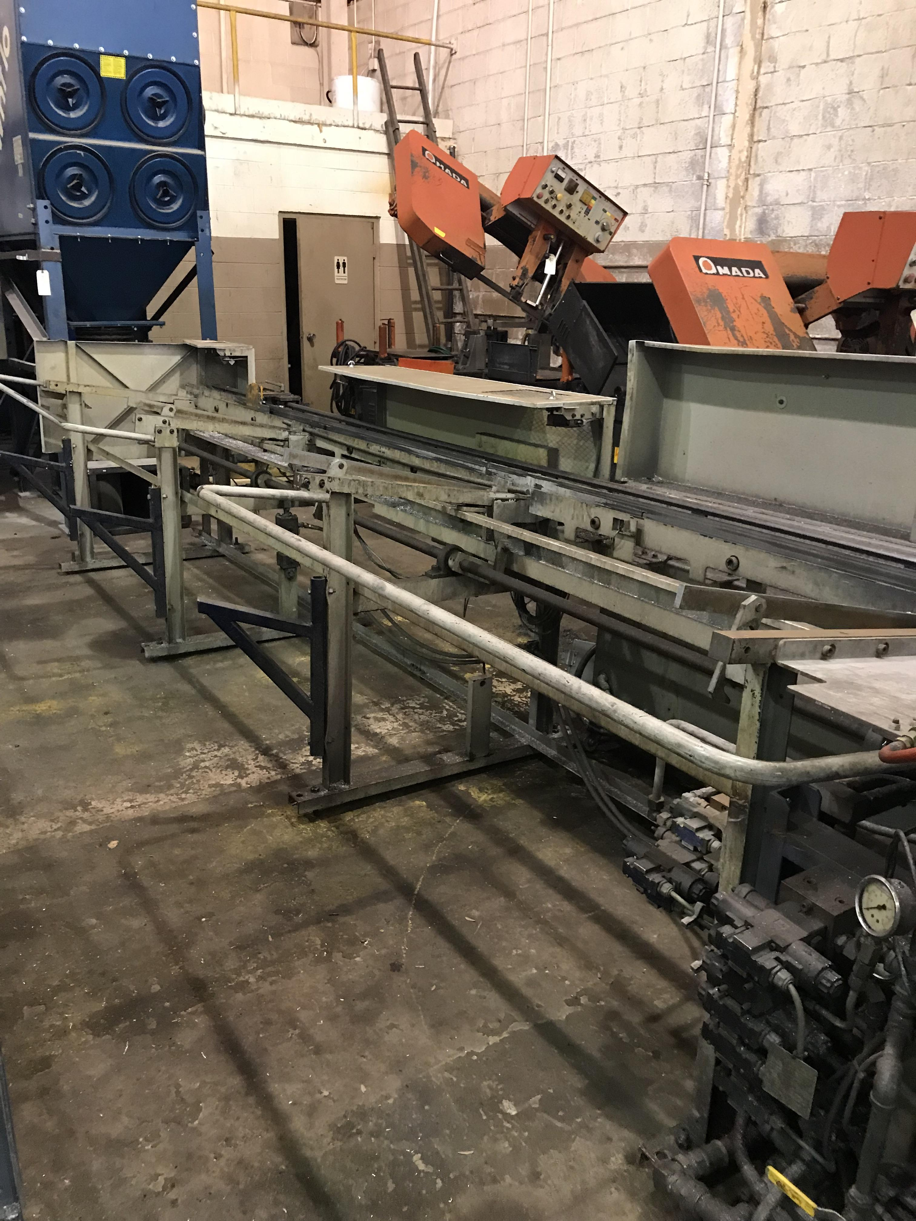 USED TSUNE FULLY AUTOMATIC NON-FERROUS CIRCULAR SAW WITH INCLINE LOADING RACK , Model TK5M90PL, Year 2002, Stock No. 10599