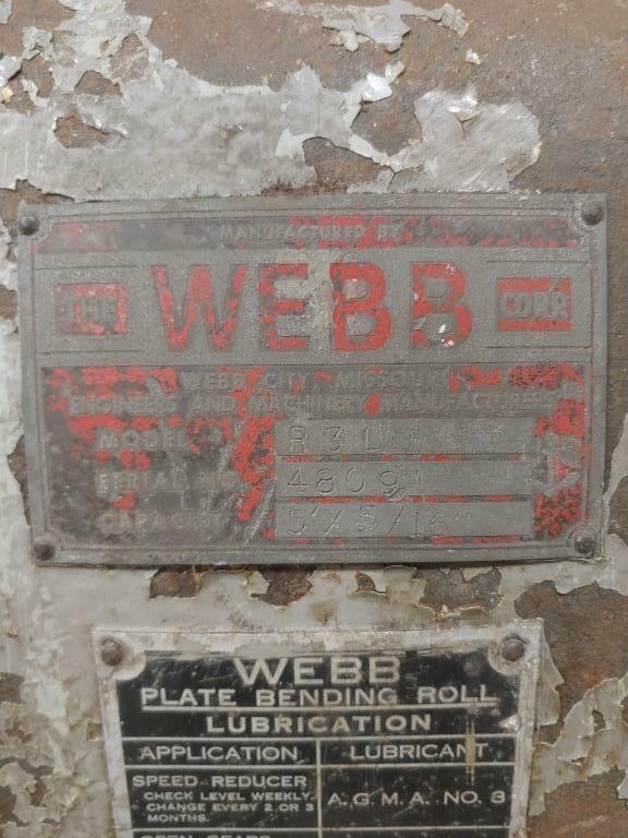 WEBB INITIAL PLATE BENDING ROLLS: STOCK #73789