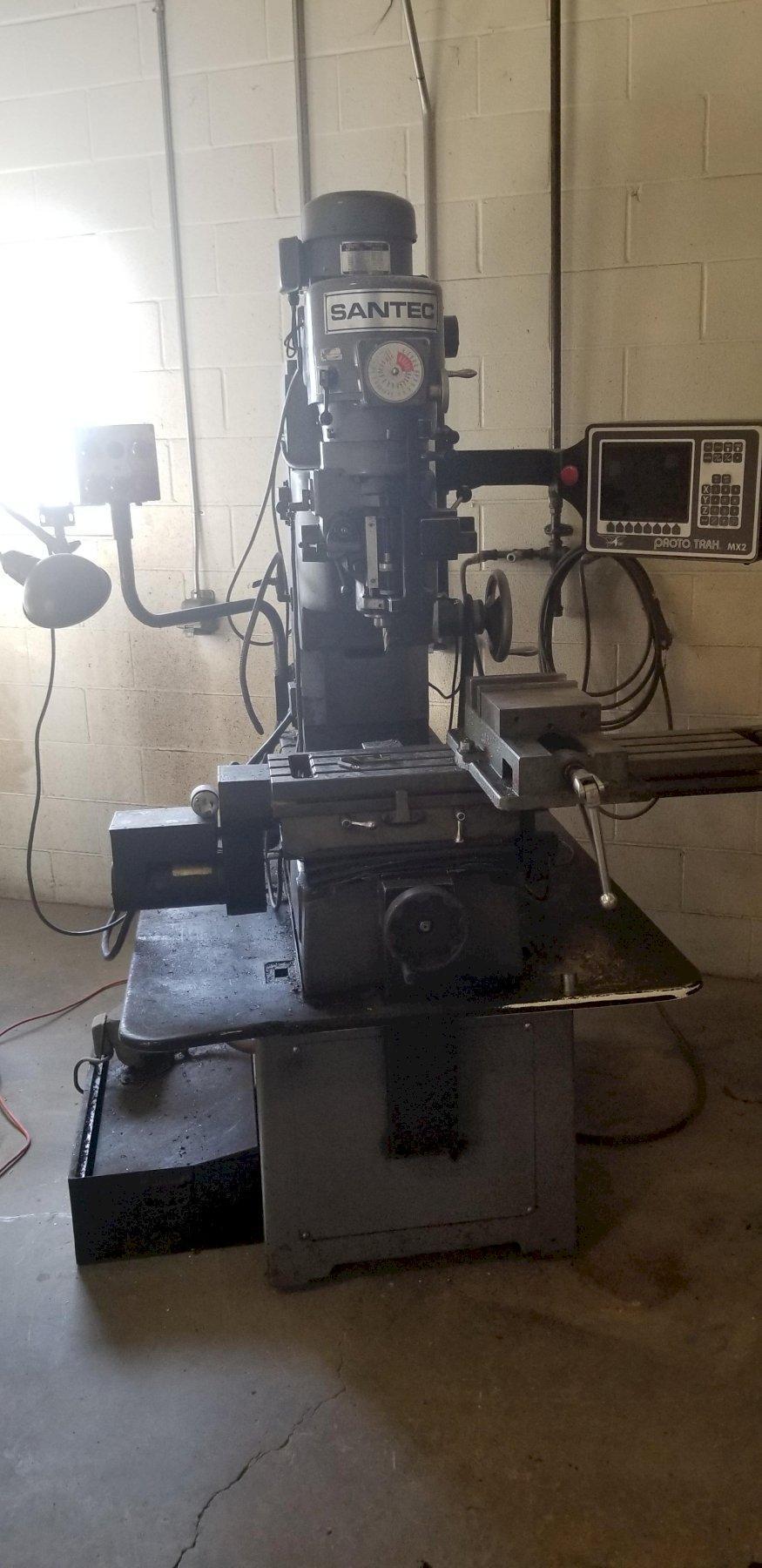 """42"""" X 9"""" SANTEC VERTICAL MILL, MODEL RB-10, 3 AXIS PROTO TRAK MX2 DRO, 1991"""