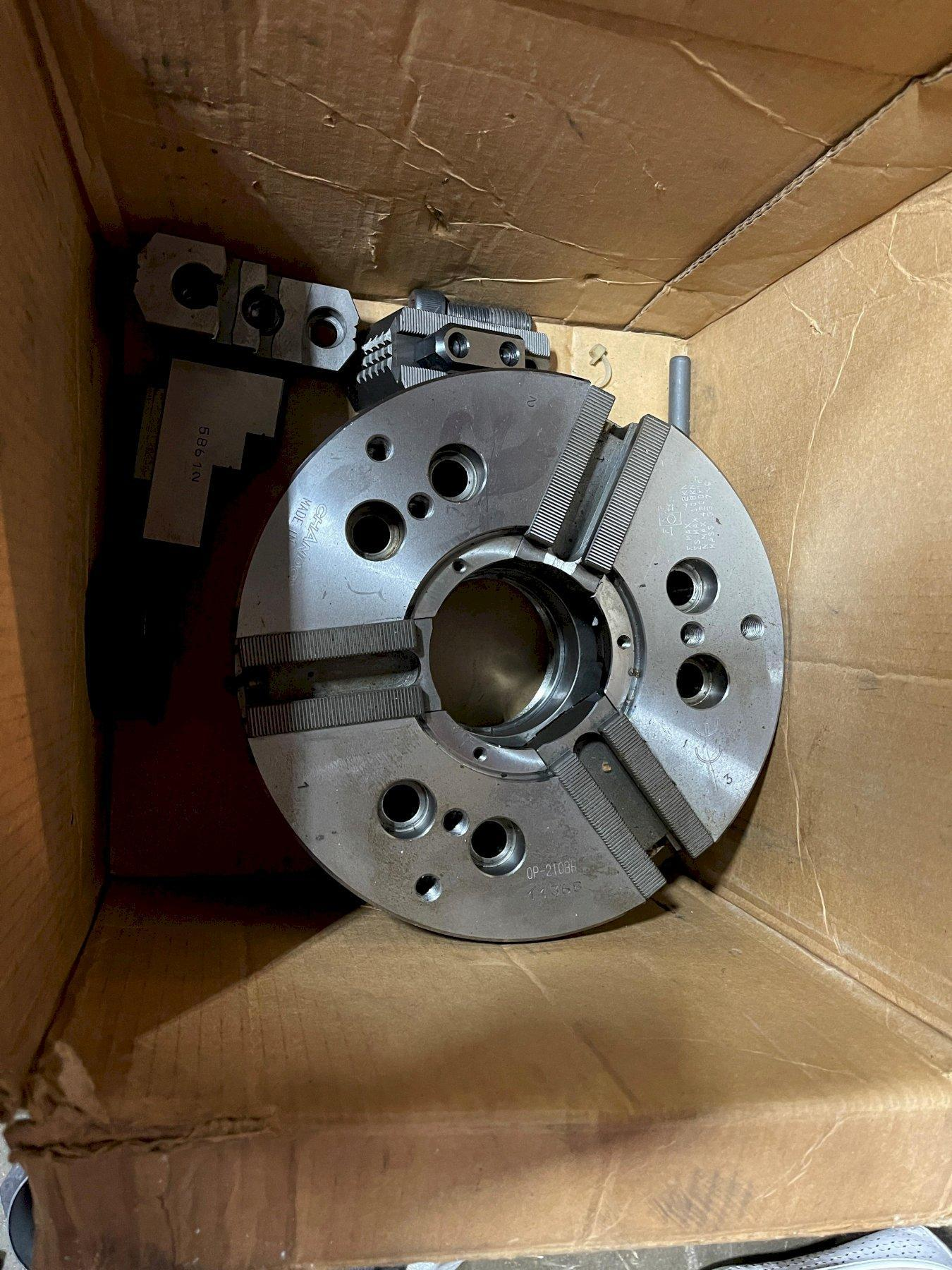 """10"""" CHANDOX OP-210BH 3-JAW HIGH SPEED HOLLOW POWER CHUCK, 78mm/3"""" Hole, 9mm/0.35"""" Jaw Stroke, A2-8 Spindle Nose, 4200 RPM Max Speed, 108 kN Clamp Force."""