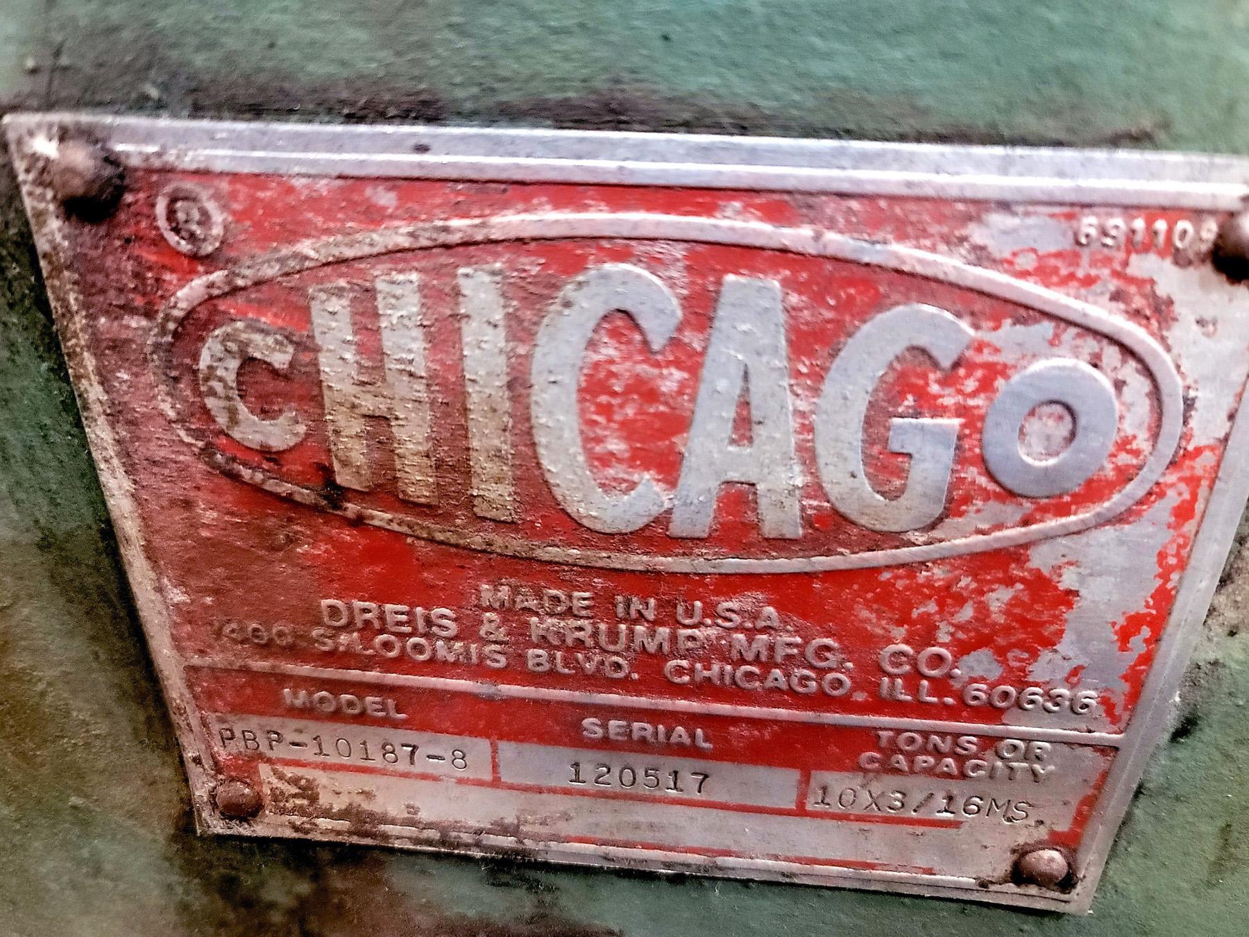 "USED, 10' X 3/16"" CHICAGO DREIS & KRUMP BINGER / BOX AND PAN BENDING BRAKE"