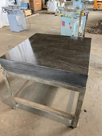 "36"" X 36"" X 8"" GRANITE SURFACE PLATE WITH ROLLER CART. STOCK # 1160320"