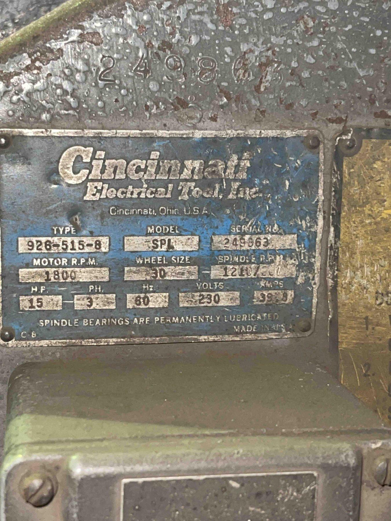 Cincinnati model 926-515-8 left hand single end snag grinder with safety guard, 15 hp, s/n 249863