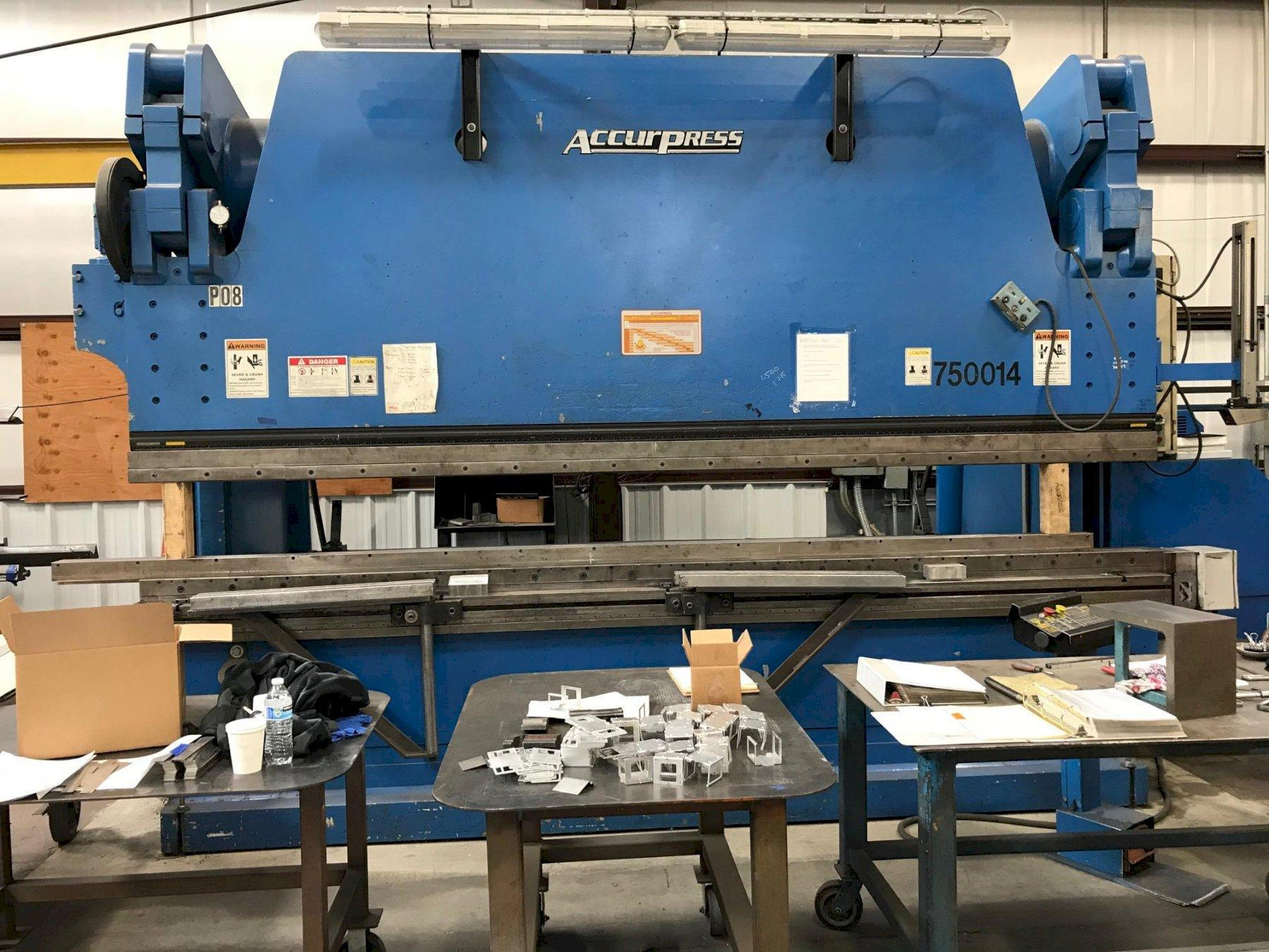 500 TON X 14' ACCURPRESS MODEL 750014, 2005, 6 AXIS ETS300 CNC CONTROL, LAZERGUARDS, FLUSH FLOOR, WILA CLAMP AND CROWNING
