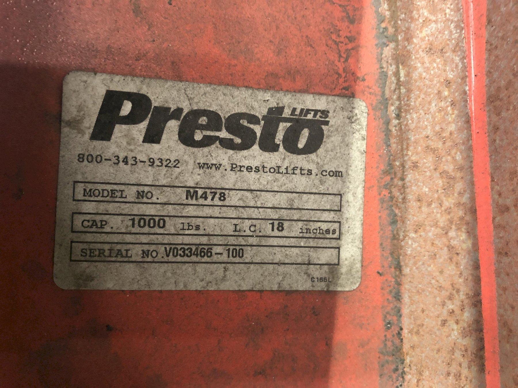 PRESTO HAND LIFT CART MODEL M478 S/N V033466-100 1000# CAPACITY