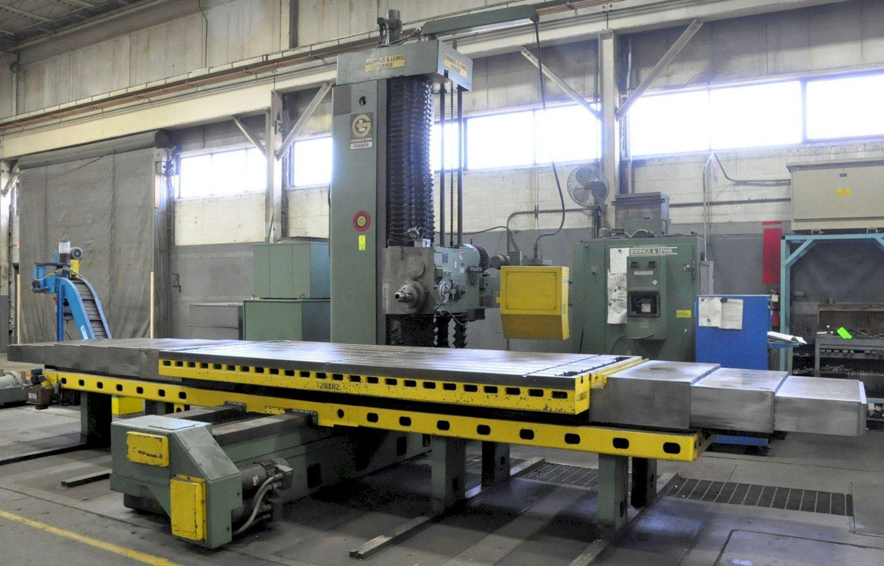 "5"" Giddings & Lewis Model 70A-D5-T, Table Type CNC Horizontal Boring Mill, Retrofit Controls, 146"" x 60"" T-Slotted Table Size, 128"" X-Axis, 82"" Y-Axis, 34"" Z-Axis, 58"" W-Axis"