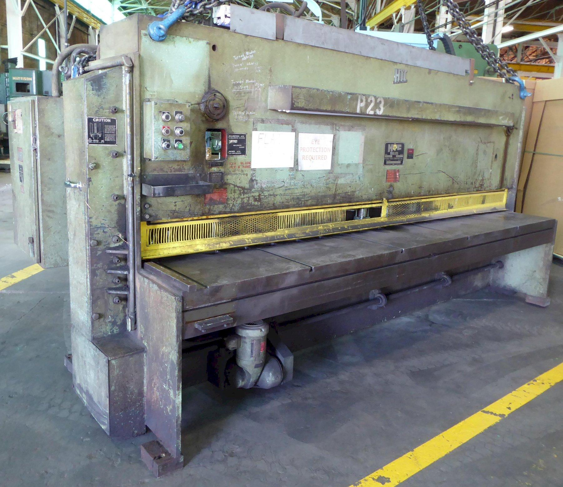 """12' x 3/8"""" HTC Hydraulic Shear, Model 375-12A, FOPBG, 10' Sq. Arm, Front Supports, Low Price"""