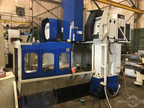 JOHNFORD DMC1200 BRIDGE STYLE CNC VERTICAL MACHINING CENTER w/CT40, Fanuc 18M, Dual Arm 24 Position ATC, 2001